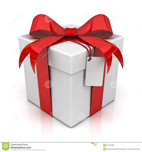 Gift In - gift box with blank tag stock images image 21067084