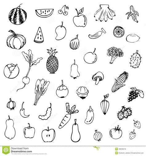 vegetable doodle vector free fruits and vegetables sketch vector in black doodle on