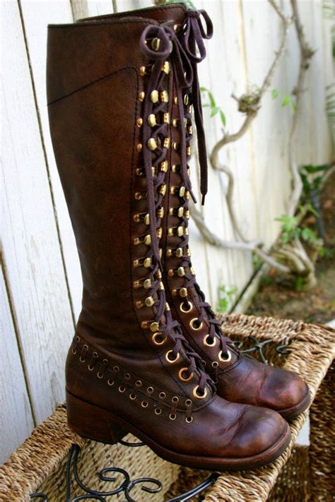 hippie boots vintage 70s brown leather lace up bohemian hippie