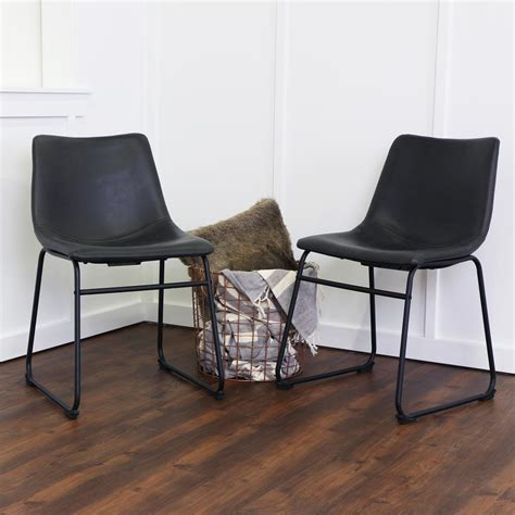 set of 2 dining room furniture black leather dining chairs walker edison furniture company wasatch black faux leather