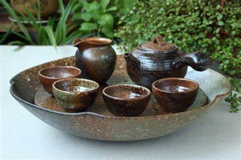 Handmade Tea Set - a complete set of handmade crude ceramic tea wares