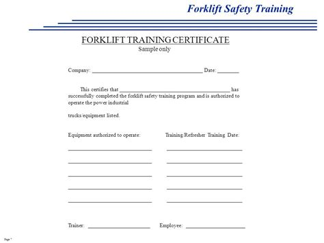 26 Images Of Fork Lift Written Safety Program Template Eucotech Com Forklift Operator Certificate Template