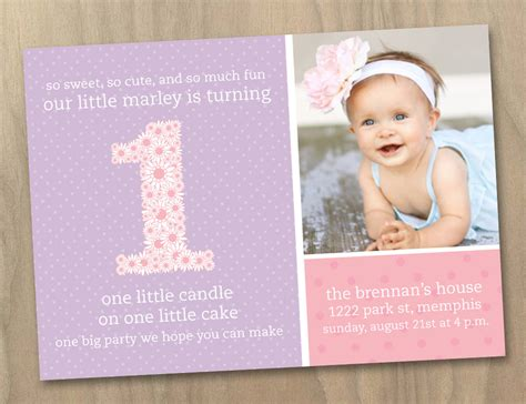 baby 1st birthday photo invitation pink and