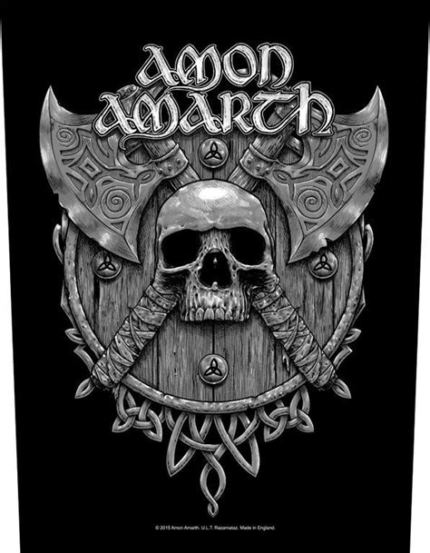 amon amarth skull amp axes backpatch
