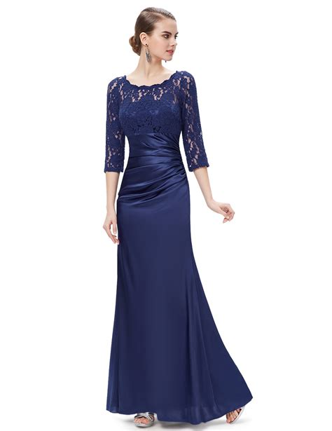 Lace 3 4 Sleeve Evening Gown pretty 3 4 sleeve lace evening dress