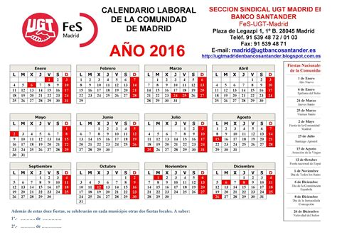 Calendario Laboral Enero 2017 Madrid Secci 243 N Sindical De Ugt Madrid En Banco Santander