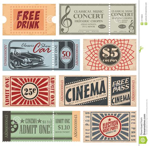 retro tickets and coupons stock vector image 47779804