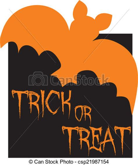 Trick Or Treat Graphic 15 clipart vector of trick or treat vector card with bat