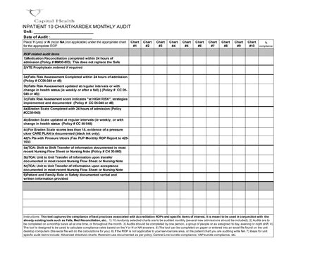 11 Best Images Of Chart Audit Template Medical Chart Audit Form Template Medical Record Chart Chart Audit Tool Template