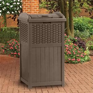Decorative Trash Cans Outdoor Patio by Resin Plastic Wicker Look Patio Deck Poolside Trash Can