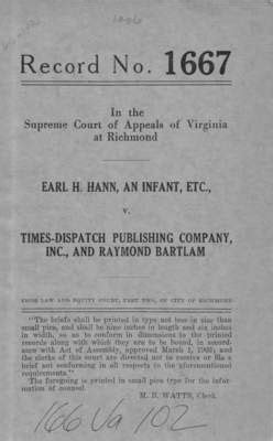 Virginia Judiciary Search Records Quot Earl H Hann An Infant Etc V Times Dispatch