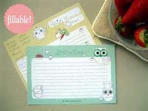 fillable recipe card template my owl barn printable and fillable owl recipe card