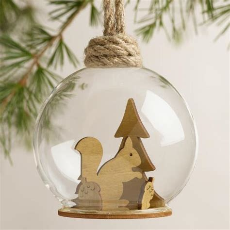 glass woodland cloche ornaments set of 3 world market