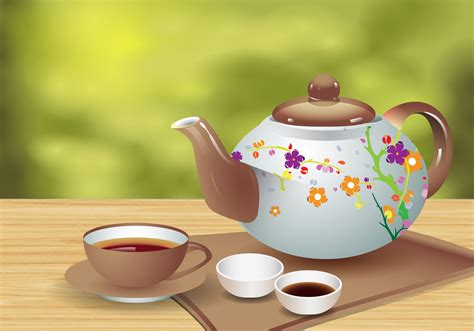 Teapot And The realistic tea teapot and cup vector free vector