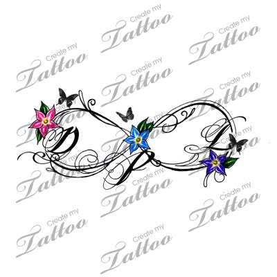 infinity tattoo png infinity initials color with butterflies too 148433
