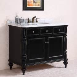 antique 47 inch black finish bathroom vanity white marble top
