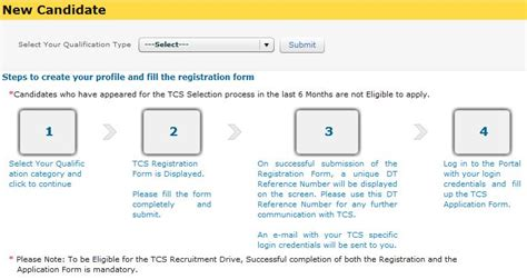 Tcs Recruitment Process For Mba Freshers by Tcs Freshers Recruitment Registration Form 2012 New