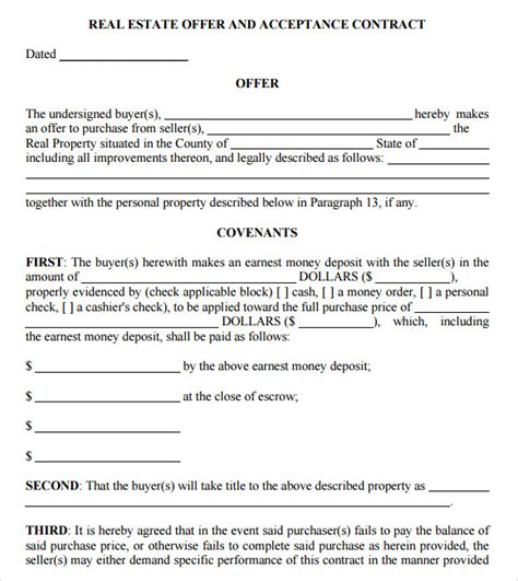 8 Sle Real Estate Purchase Agreements Sle Templates Real Estate Sales Contract Template