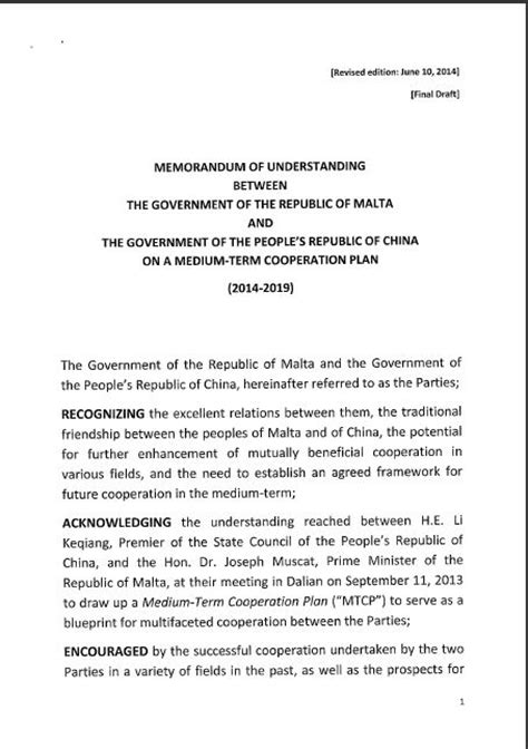 mou   government  malta  chinas communist dictatorship    daphne
