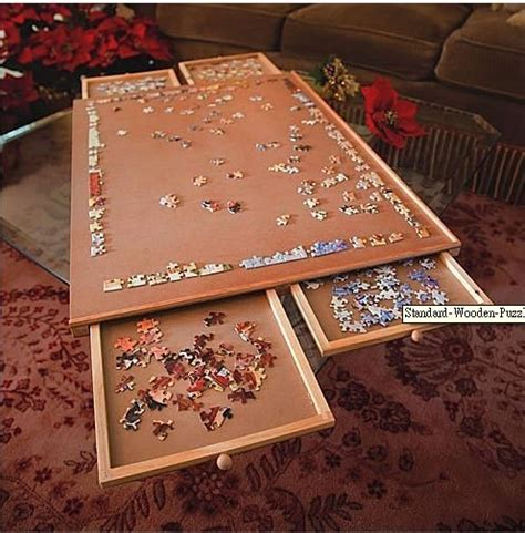 jigsaw puzzle table standard wooden wood jigsaw puzzles puzzle plateau board