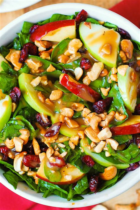 salad recipe ideas apple cranberry spinach salad with balsamic vinaigrette