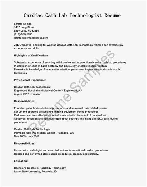 Cath Lab Technician Resume Sle Resume Sles Cardiac Cath Lab Technologist Resume Sle