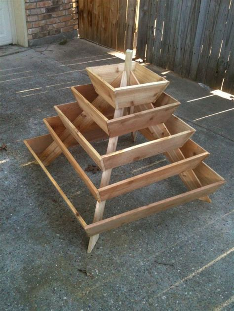 Strawberry Planter Plans by Assembled Pyramid Planter Herb Garden Strawberry Planter