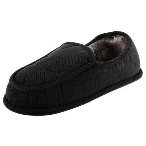 mens comfy slippers mens gents cord slippers with soft comfy faux fur