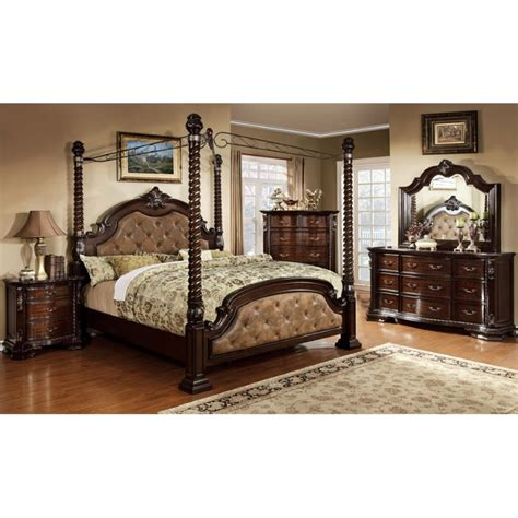 california king bedroom furniture set furniture of america cathey 4 piece california king canopy