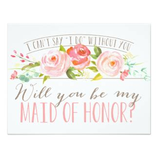 will you be my will you be my of honor cards invitations zazzle