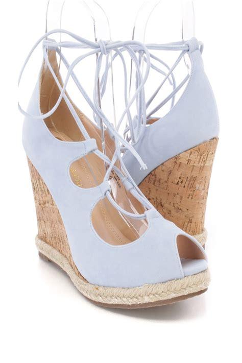 light blue cork platform faux suede wedge heels