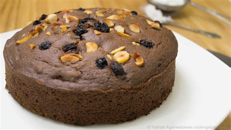 pressure cooker eggless chocolate nuts cake recipe eggless baking without oven cookingshooking