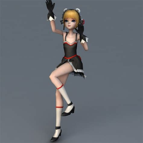 Anime 3d Model Free anime character rigged animated 3d model 3ds max