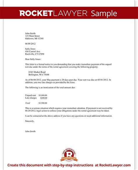 late rent notice letter template