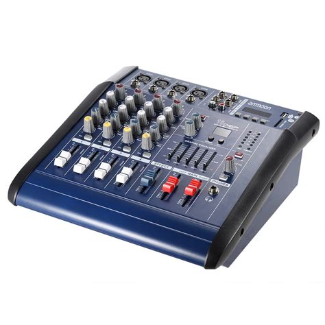 Mixer Audio Line ammoon pmx402d usb 4 channel digtal mic line audio mixing mixer console with 48v phantom power