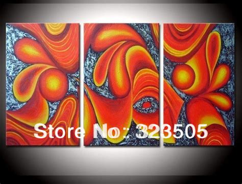 oil painting on 3 piece cheap modern paintings for living 3 piece canvas wall art abstract orange art modern wall