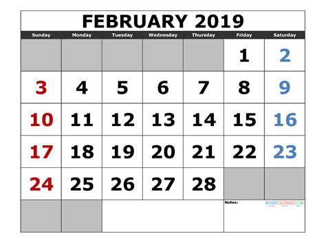 printable february  calendar template landscape format  printable  monthly
