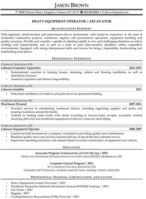Heavy Equipment Resume Exles Sles Construction Resume Exles Resume Professional Writers