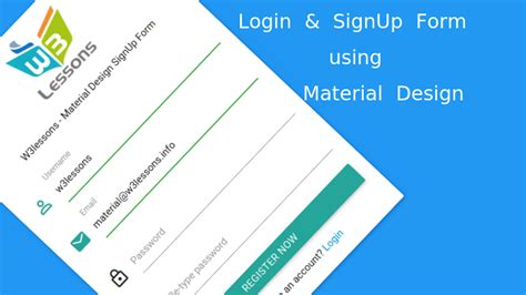 jquery ui layout background color login signup form using material design and jquery pyntax