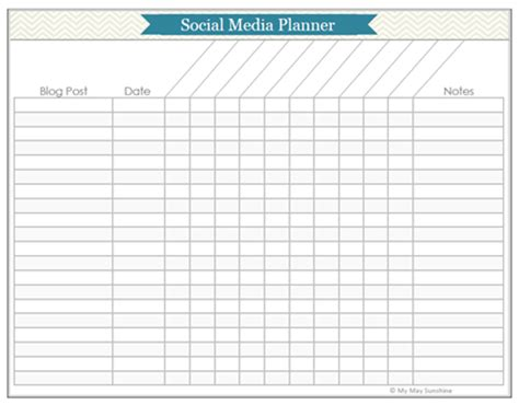 social media planner template planner printables part 1 my may
