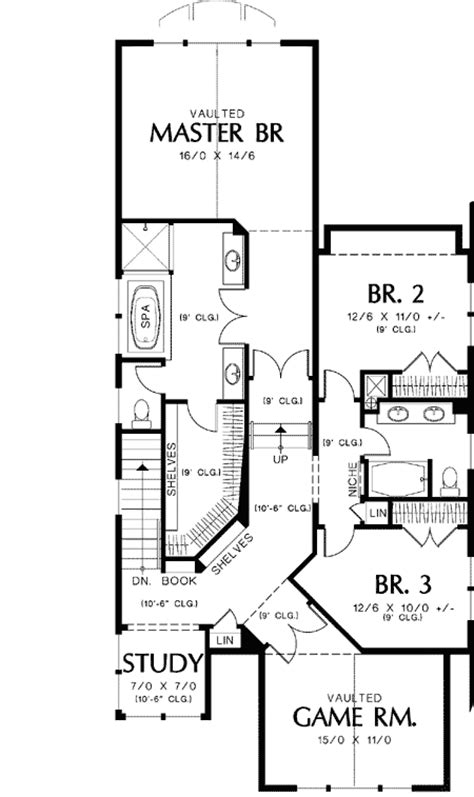floor plans for narrow lots style narrow lot plan 69089am 2nd floor