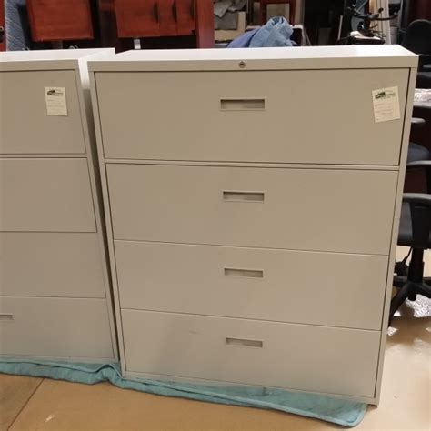 Used Steelcase 4 Drawer Lateral File Cabinet Putty Used 4 Drawer Lateral File Cabinet