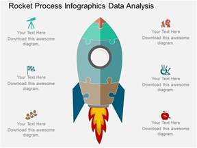 ppt rocket process infographics data analysis flat