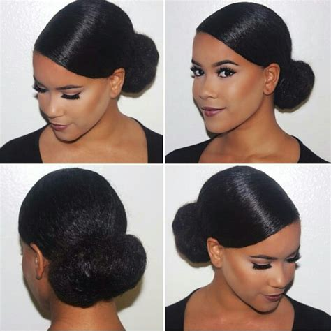 black people short hair style sleek in front curly back sleek low bun ahfro baang natural hair styles