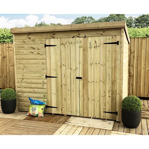 windowless pressure treated tongue  groove pent shed  double doors  select