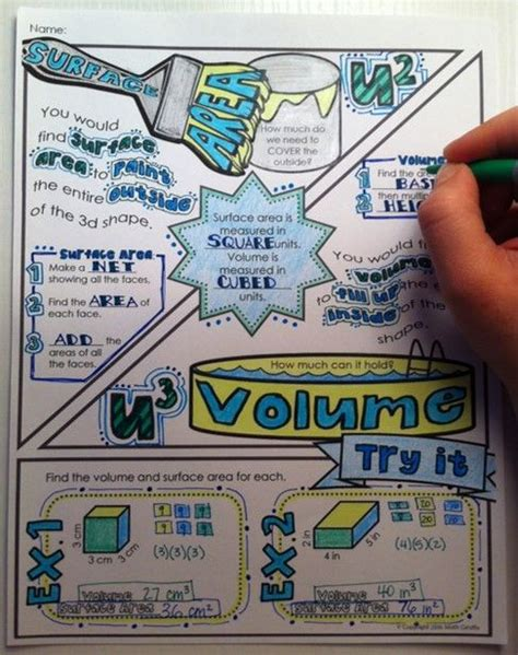 doodle maths for schools sign in volume and surface area doodle notes coloring surface