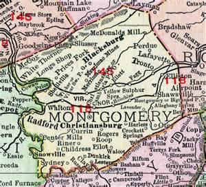 montgomery county virginia map 1911 rand mcnally