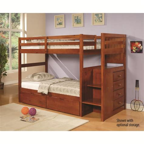 rustic bunk bed in rustic walnut espresso stair step bunk bed by donco trading co sam s