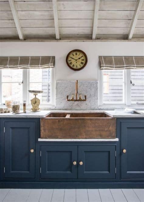 Copper Belfast Sink the pair navy gold kitchen inspiration