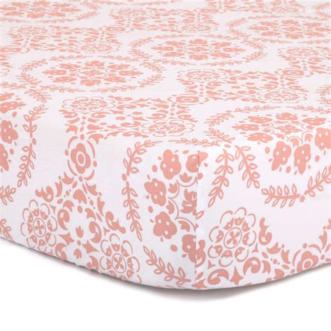 Coral Colored Crib Sheets by Coral Medallion Fitted Crib Sheet